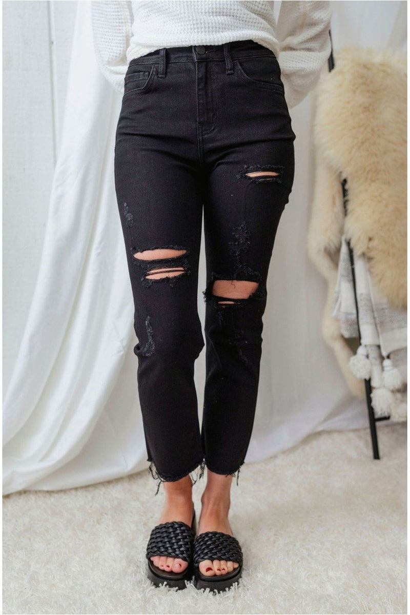 Swift Black High Rise Distressed Raw Hem Crop Denim - BluePeppermint Boutique