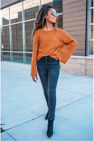 Camel Ribbed Bell Sleeve Sweater