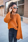 Camel Ribbed Bell Sleeve Sweater - BluePeppermint Boutique