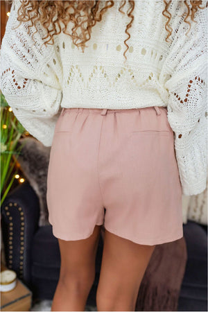 High Waist Belted Linen Shorts - Dusty Rose - BluePeppermint Boutique