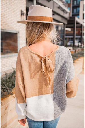 Grey Camel Color Block Balloon Sleeve Sweater