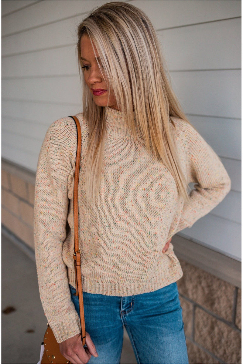 Oatmeal Speckled Mock Neck Sweater - BluePeppermint Boutique
