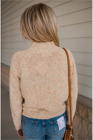Oatmeal Speckled Mock Neck Sweater