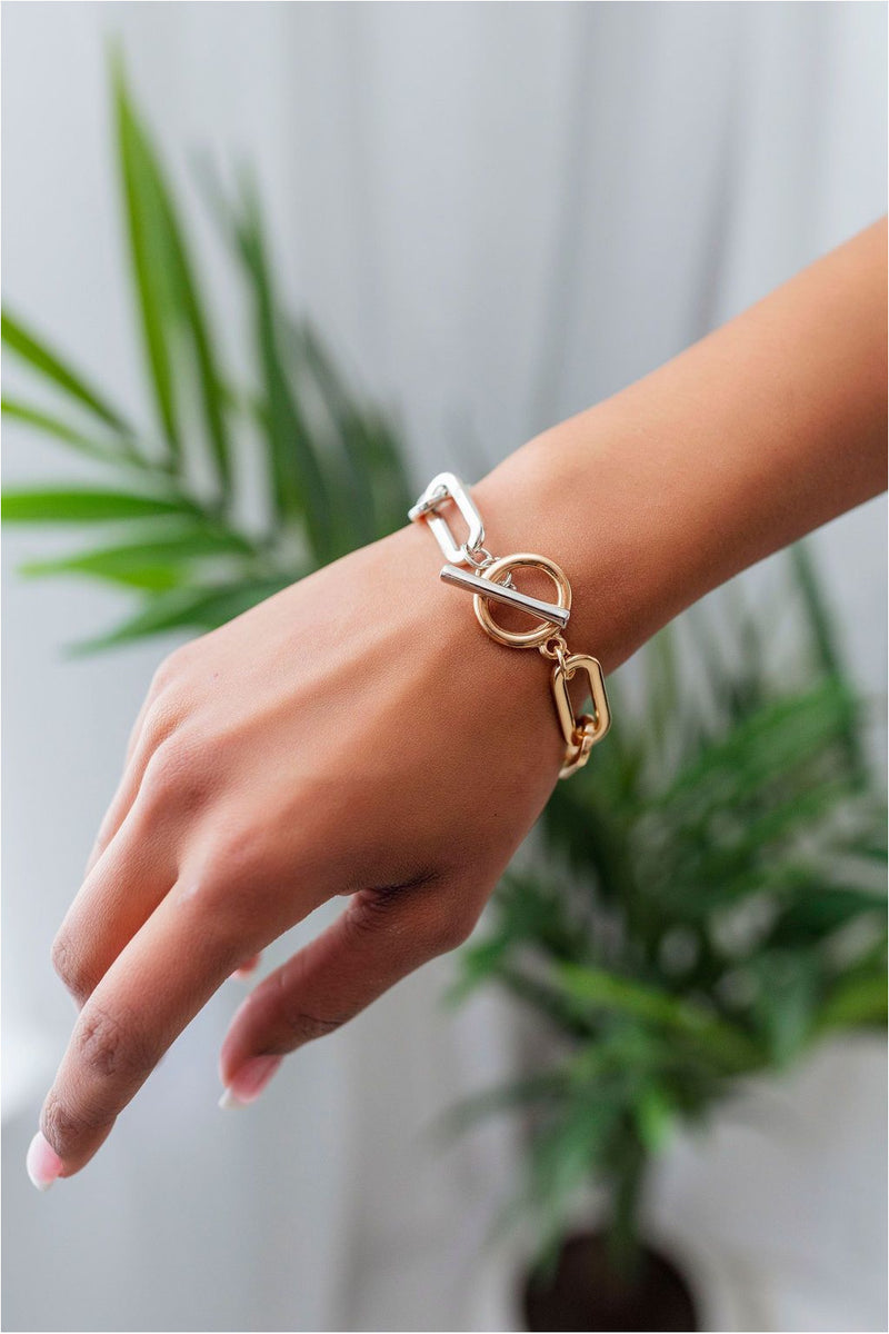 Two-Tone Flat Chain Bracelet - BluePeppermint Boutique