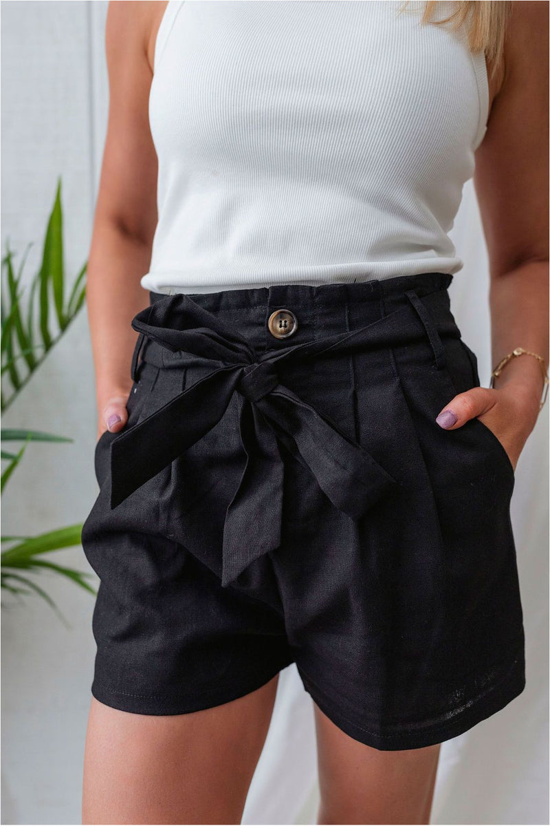 High Waist Belted Linen Shorts - Black - BluePeppermint Boutique
