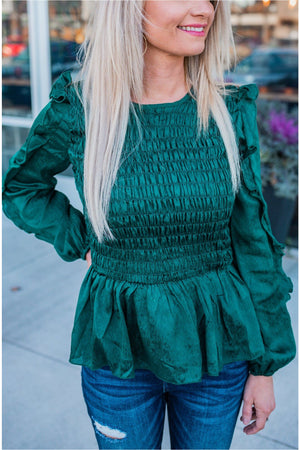 Hunter Green Ruffle Sleeve Smocking Peplum Top