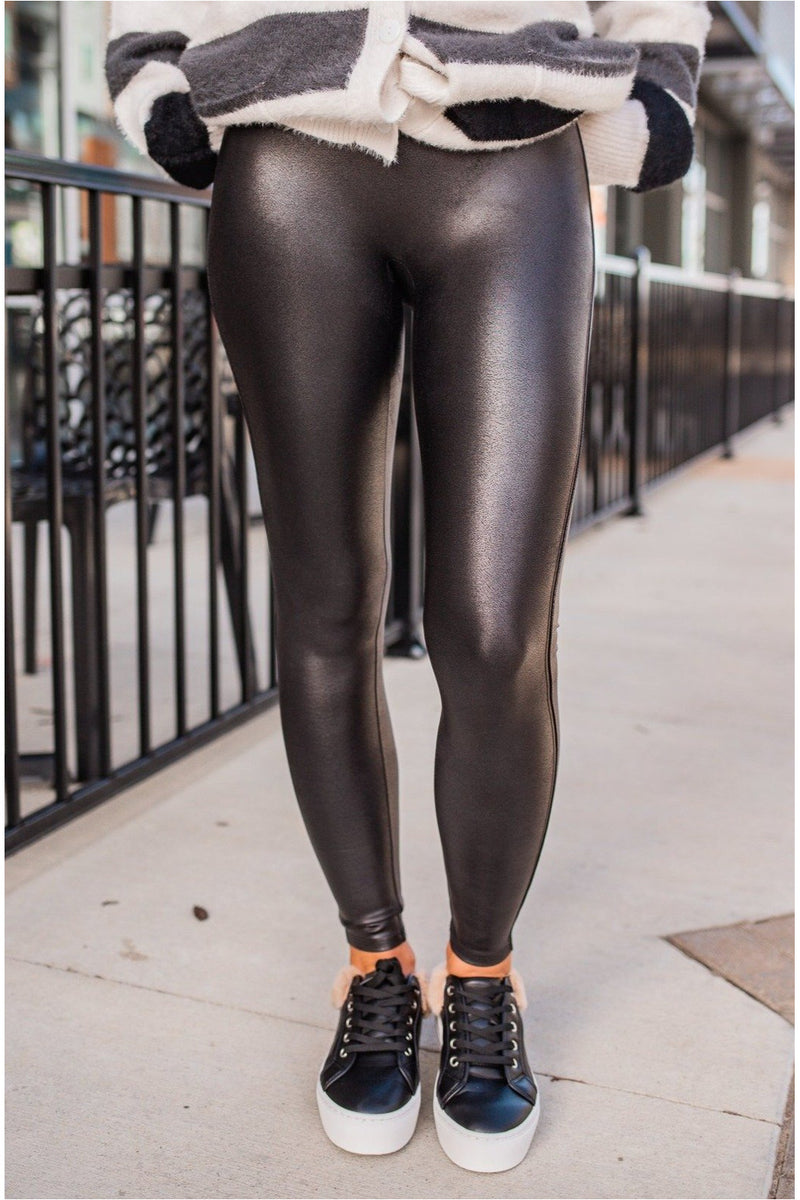 Spanx Faux Leather Leggings - Petite Black - BluePeppermint Boutique