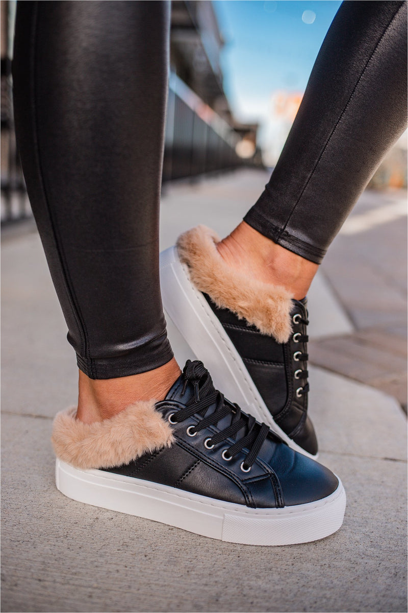 Black Fur Lined Sneakers - BluePeppermint Boutique