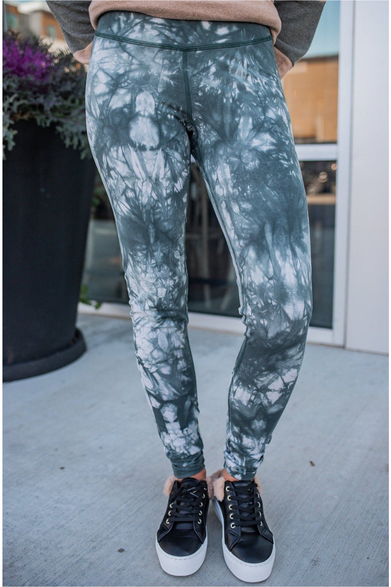 Nude/Kale Tie-Dye Cotton Highwaist Leggings - BluePeppermint Boutique