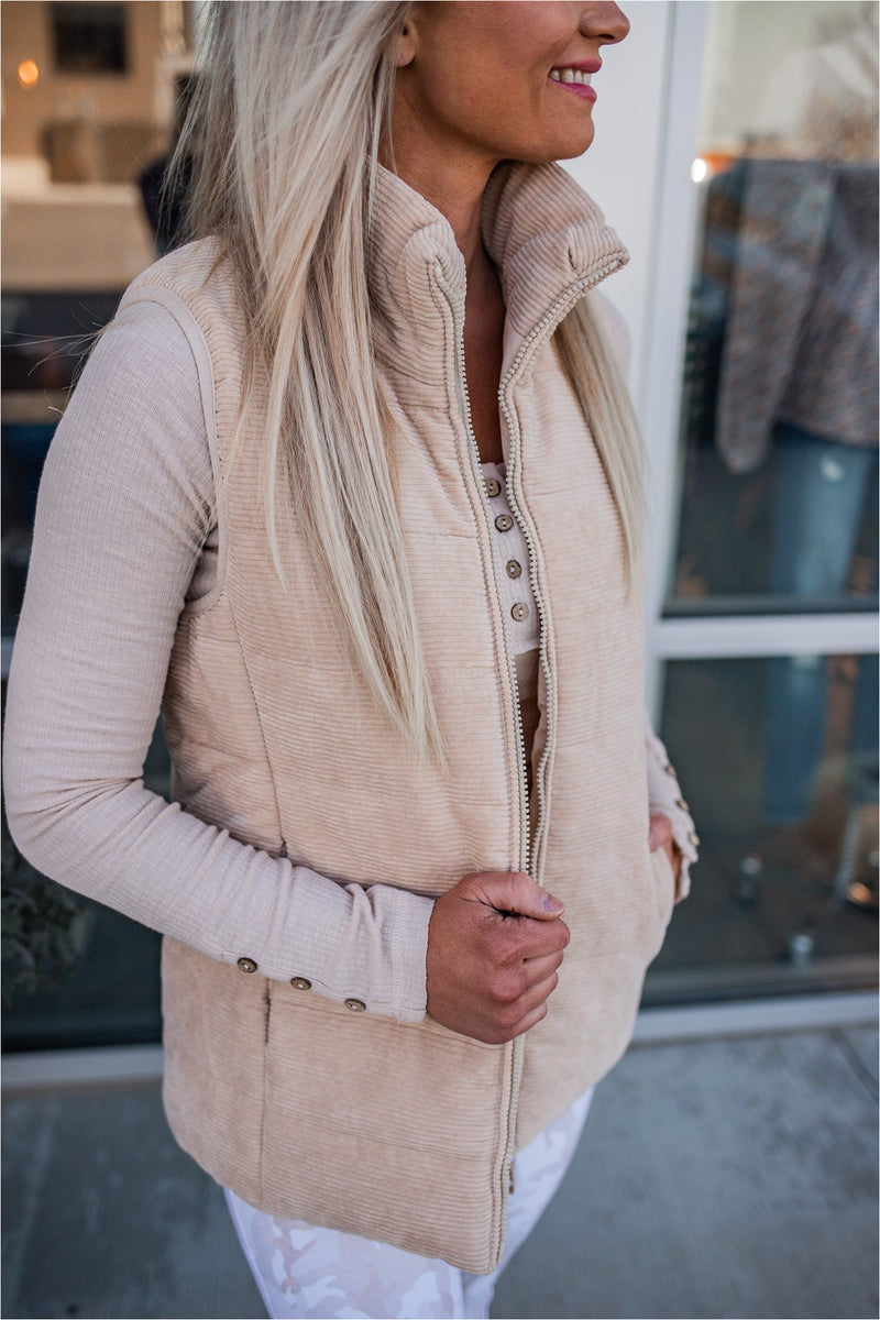 Corduroy Puffer Vest - Natural