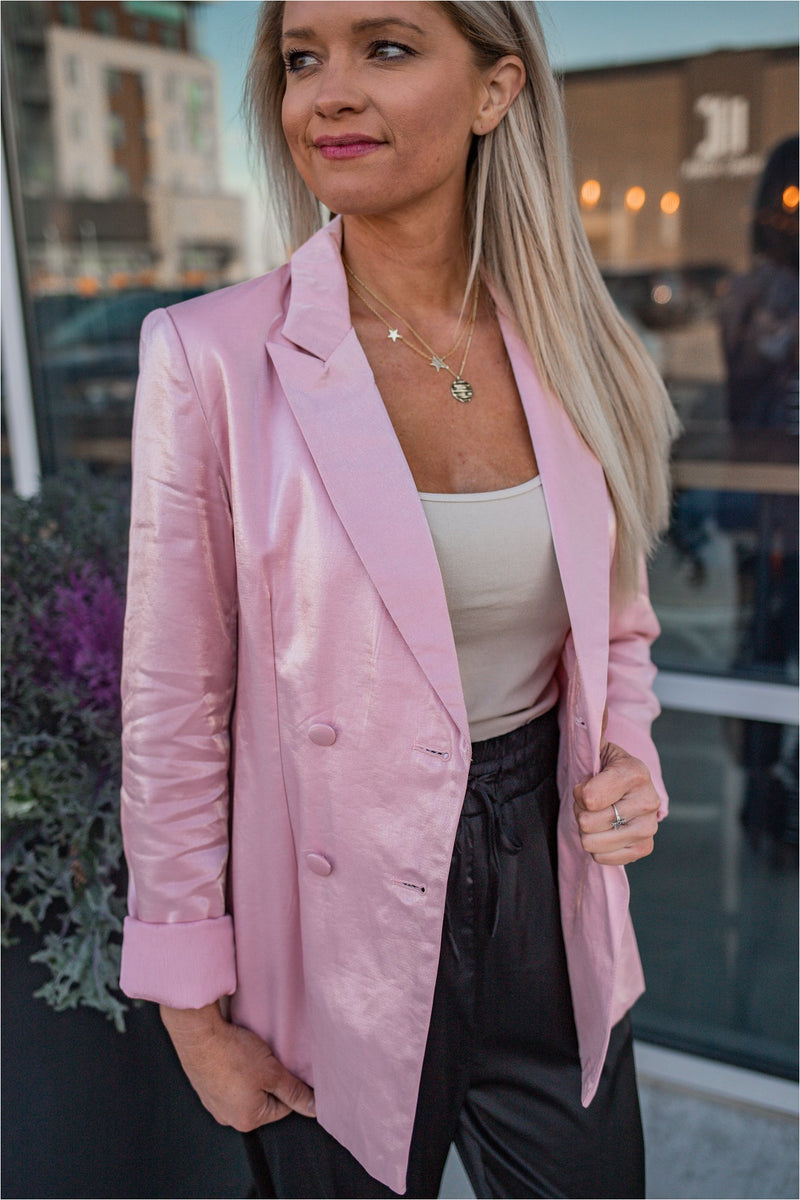 Pink Glistening Girl Group Blazer-FINAL SALE - BluePeppermint Boutique