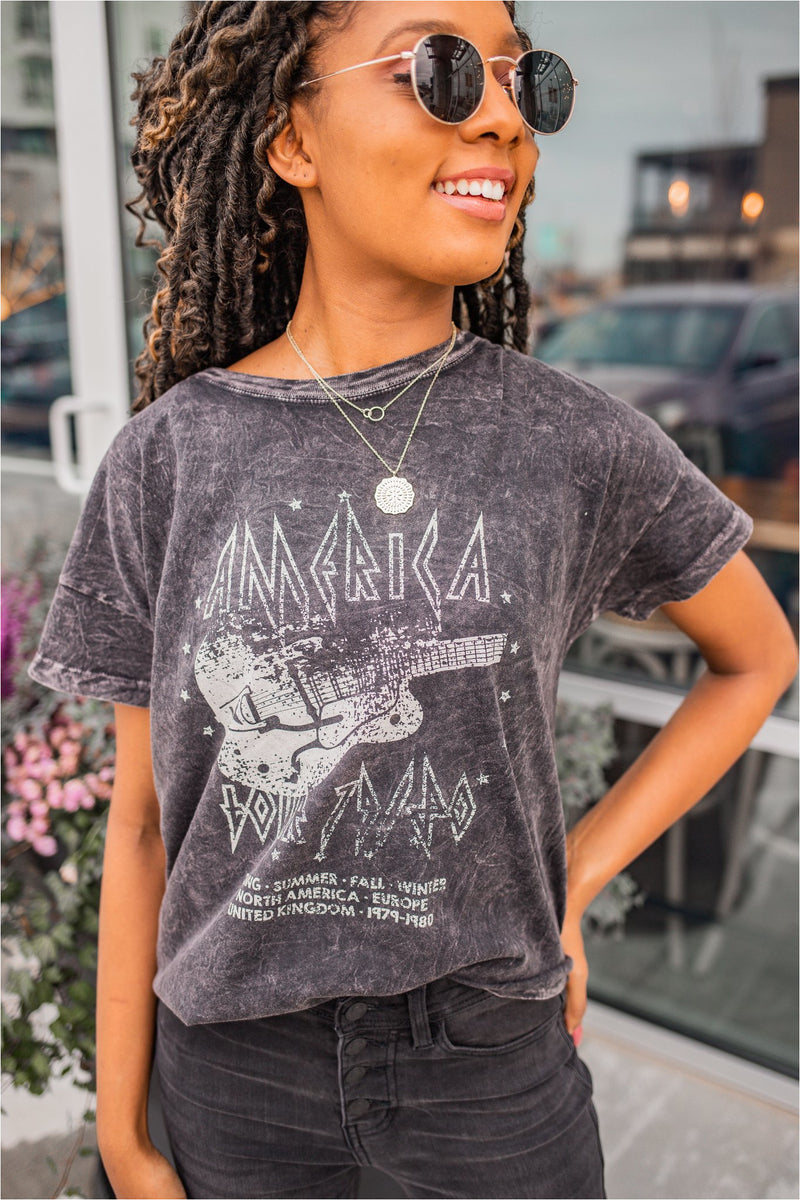 Mineral Washed America Tour T-Shirt-Charcoal - BluePeppermint Boutique