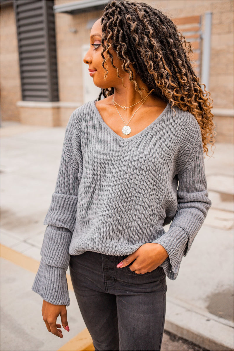 Tiered Sleeve Sweater-Heather Grey