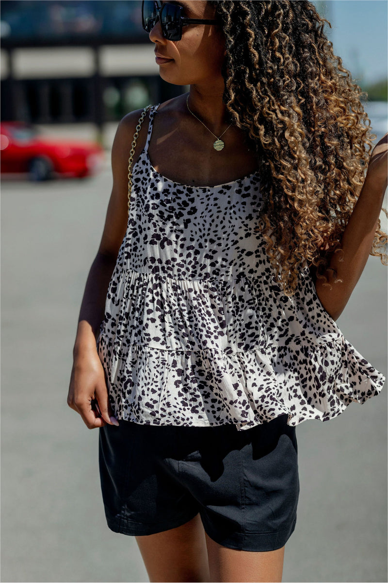 Blush Leopard Ruffle Tank - BluePeppermint Boutique