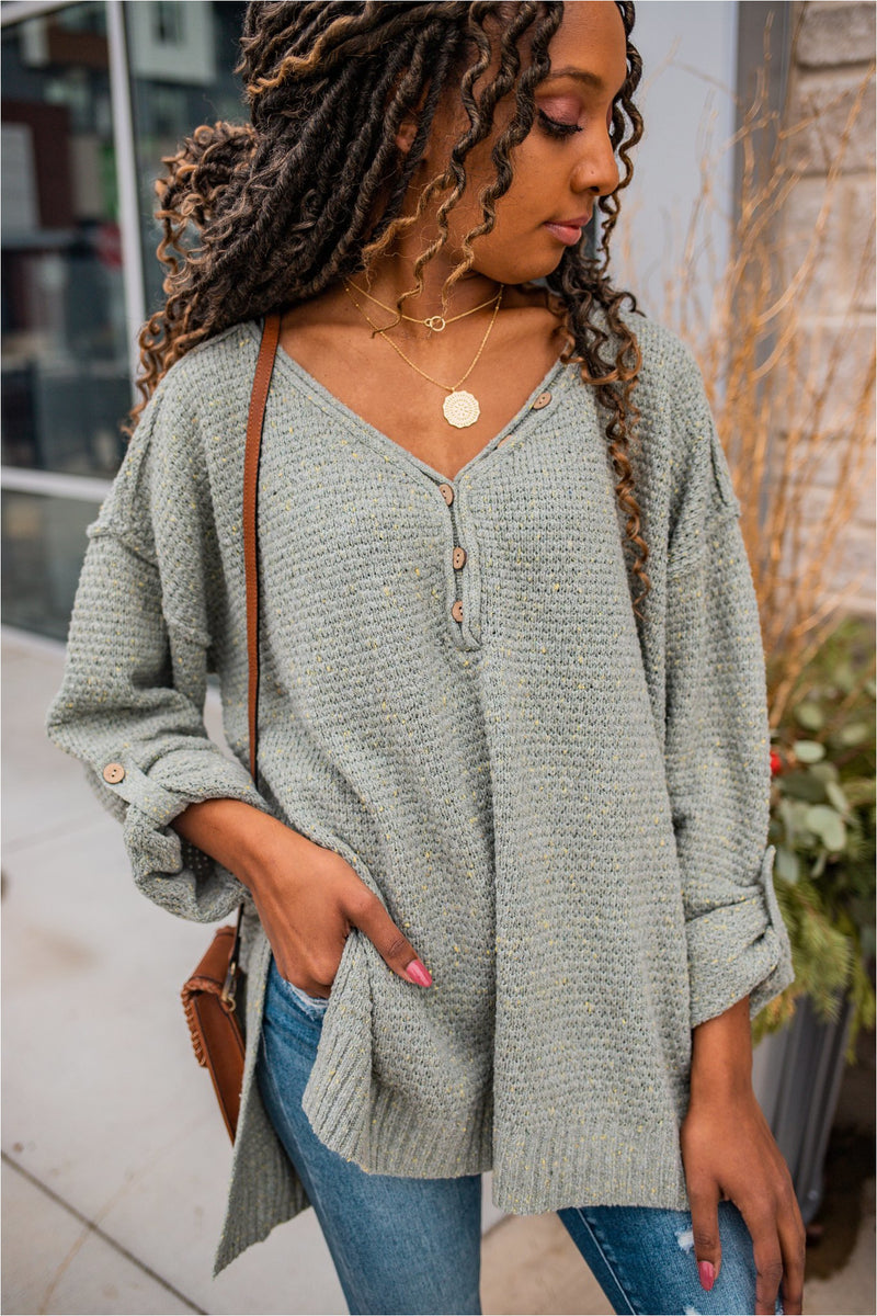 Sage Button Henley Sweater