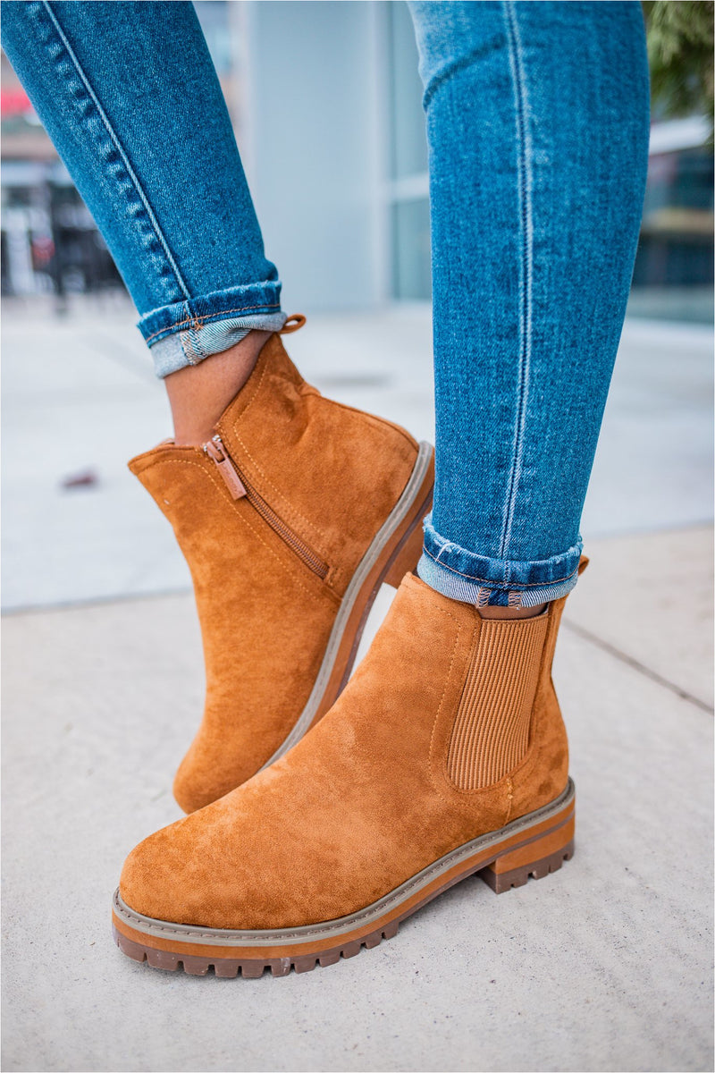 Suede Zip Up Combat Boot-Tan