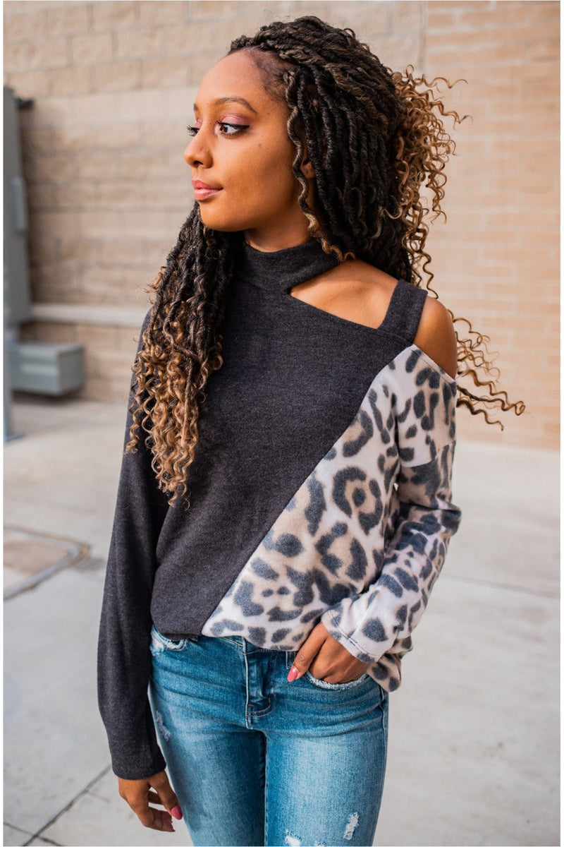 Charcoal Leopard Cut-Out Knit Top