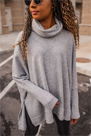 Heather Grey Waffle Knit Cowl Neck Tunic - BluePeppermint Boutique