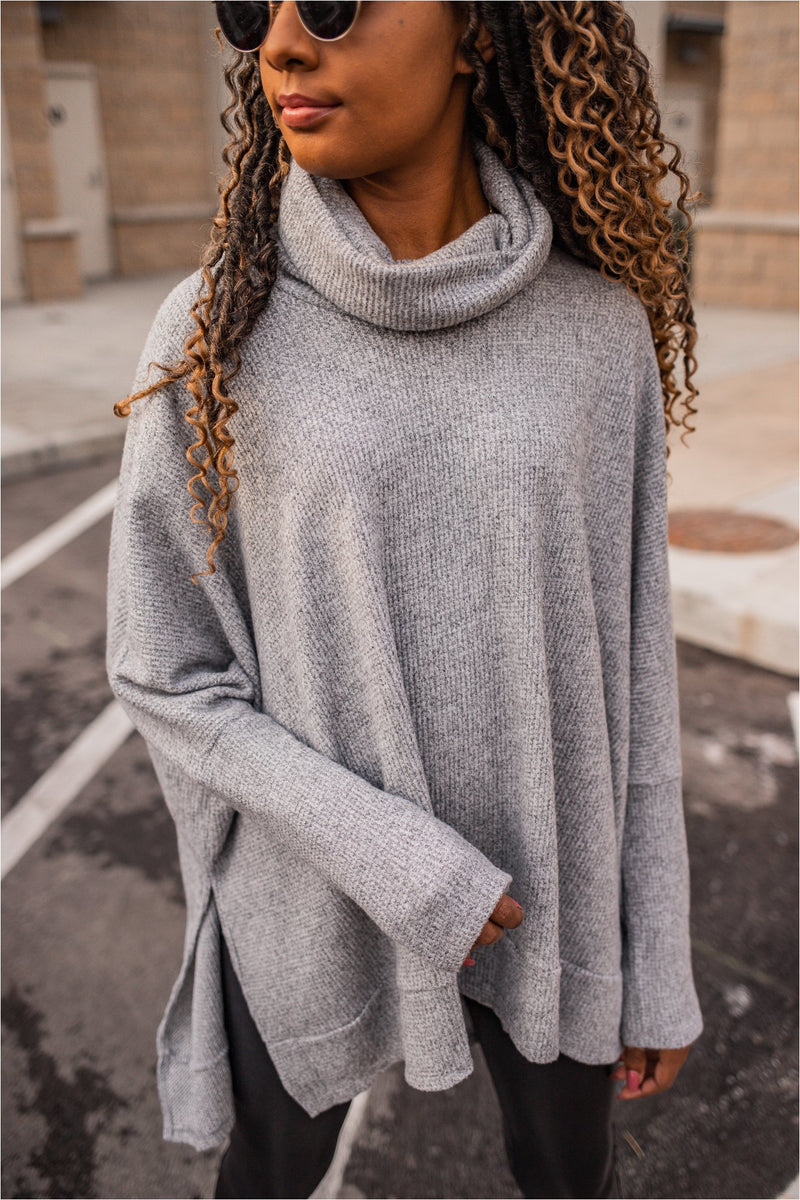 Heather Grey Waffle Knit Cowl Neck Tunic