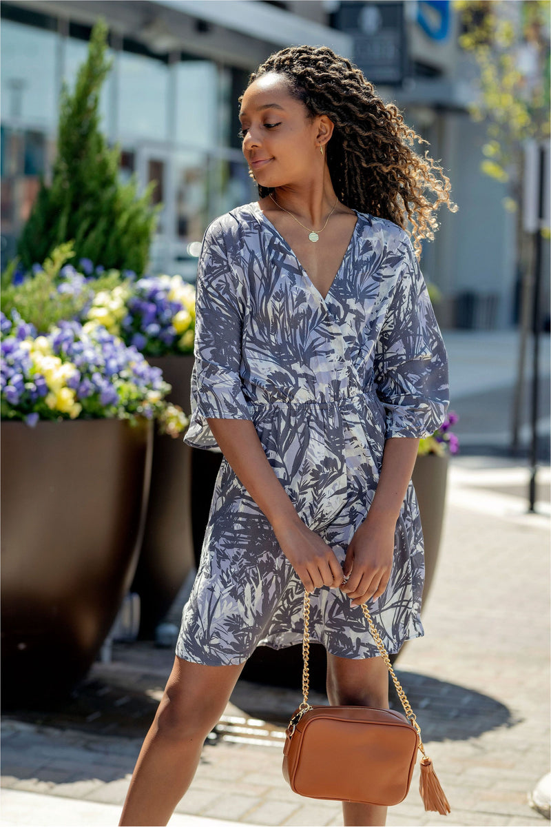 Charcoal/Natural Printed Wrap Mini Dress - BluePeppermint Boutique