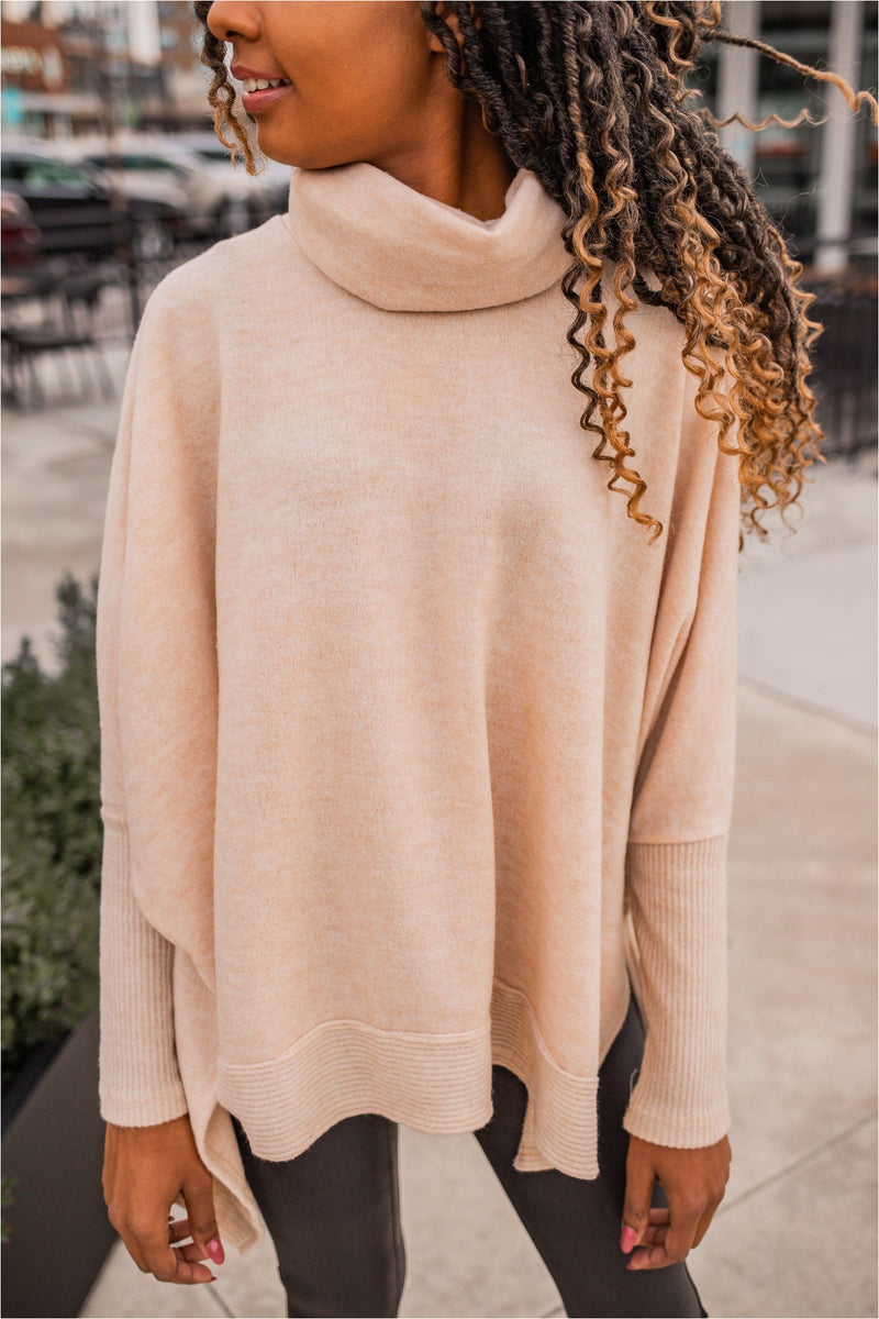 Cowl Neck Dolman Tunic Top - Oatmeal
