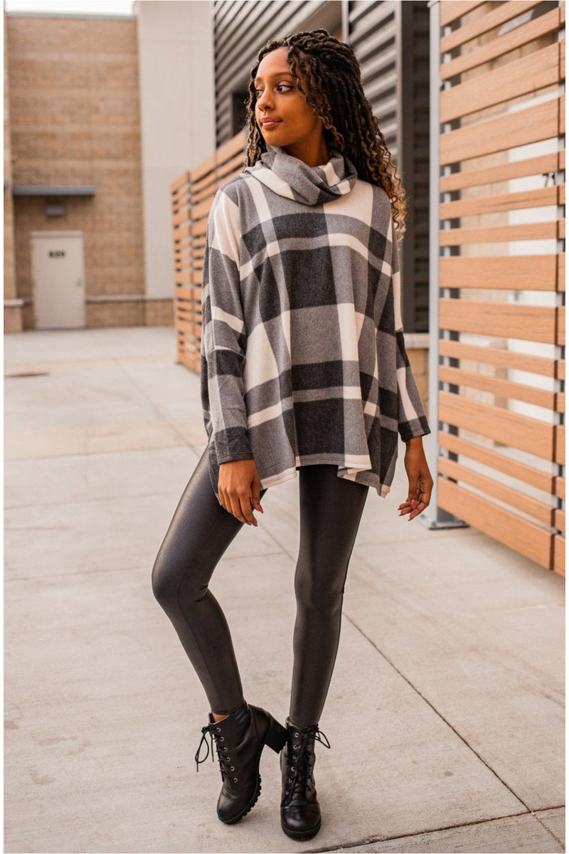 Plaid Cowl Neck Tunic- Charcoal