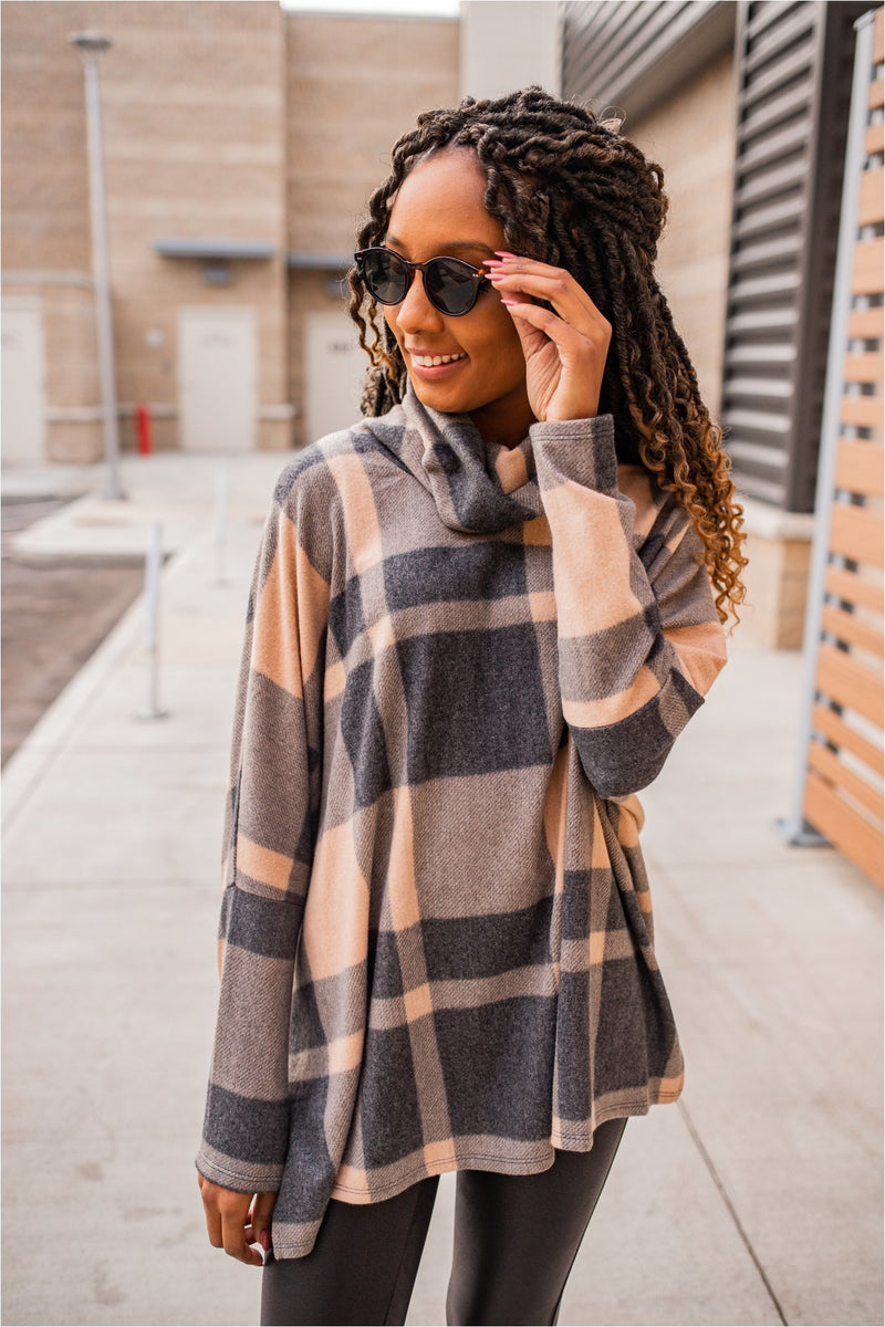 Plaid Cowl Neck Tunic- Taupe