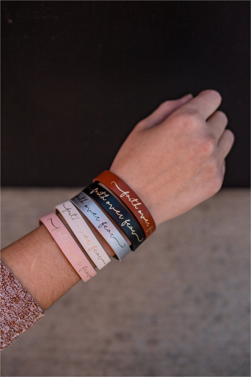 Faith Over Fear Leather Cuff - BluePeppermint Boutique