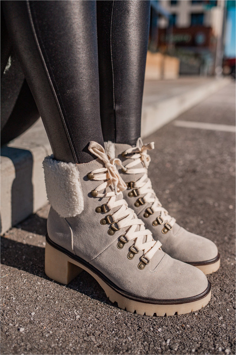 Grey Fur Lined Heeled Combat Boot - BluePeppermint Boutique
