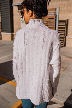 Cream Distressed Knit Turtleneck - BluePeppermint Boutique