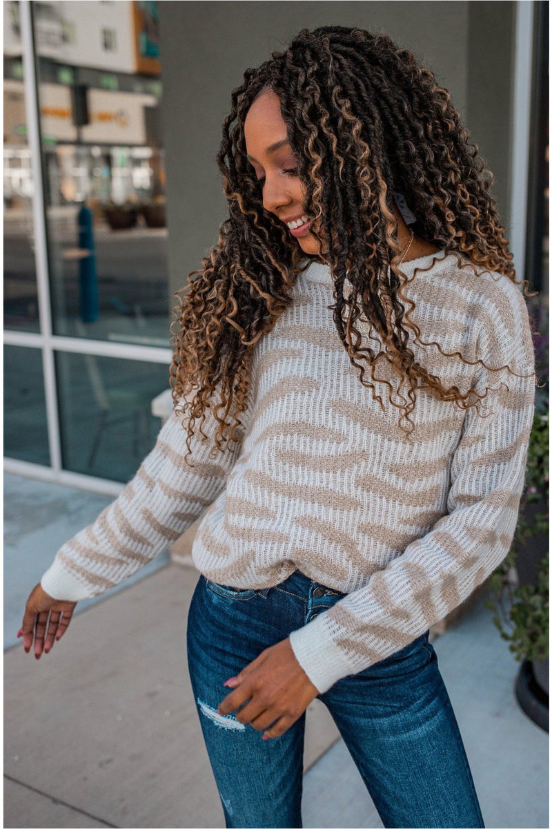 Cream Animal Print Knit Sweater - BluePeppermint Boutique