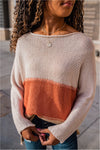 Color Block Striped Sweater-Rust - BluePeppermint Boutique