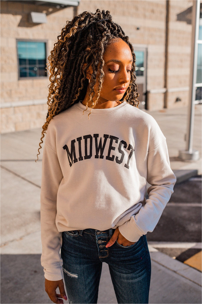 Midwest Graphic Crewneck - Dust - BluePeppermint Boutique