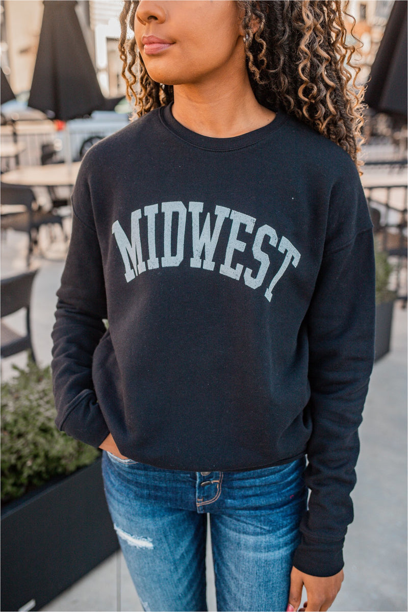 Midwest Graphic Crewneck - Black - BluePeppermint Boutique