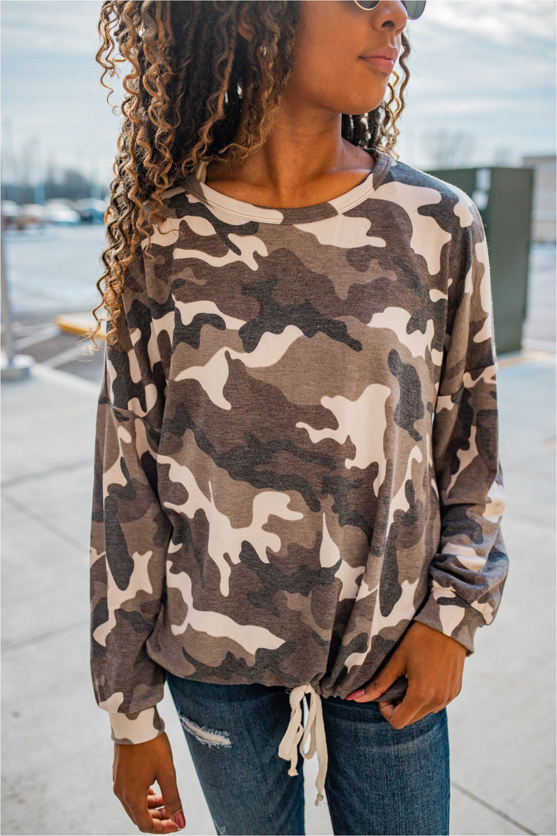 Camo Tie Waist Top - BluePeppermint Boutique