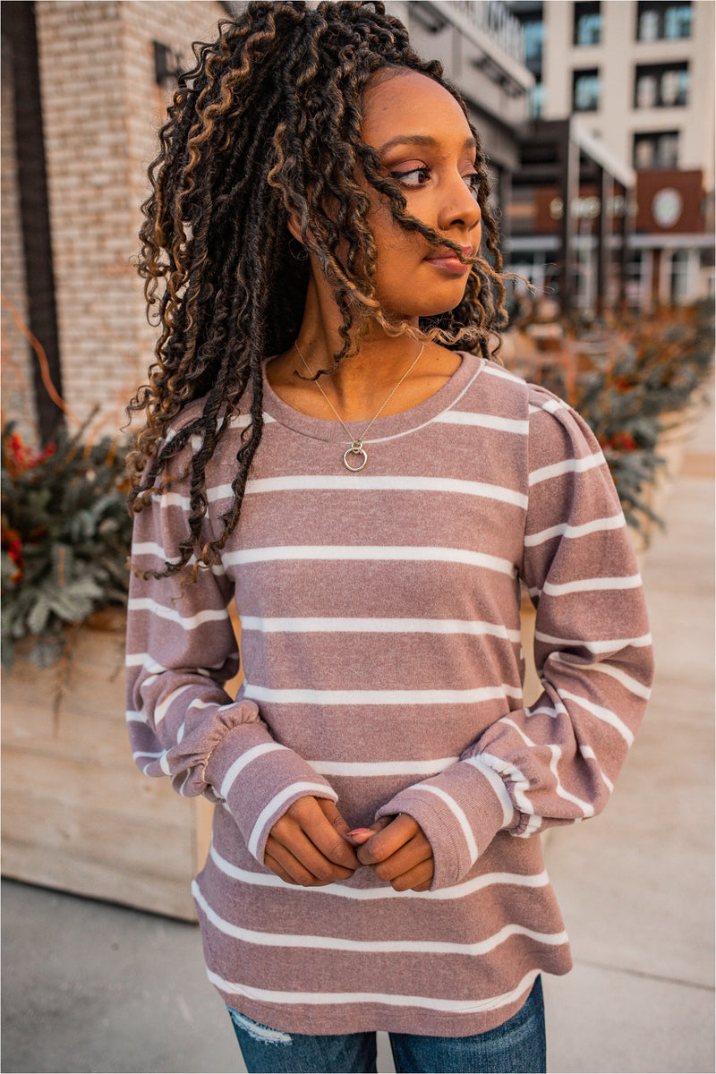 Mocha Striped Puff Sleeve Top - BluePeppermint Boutique
