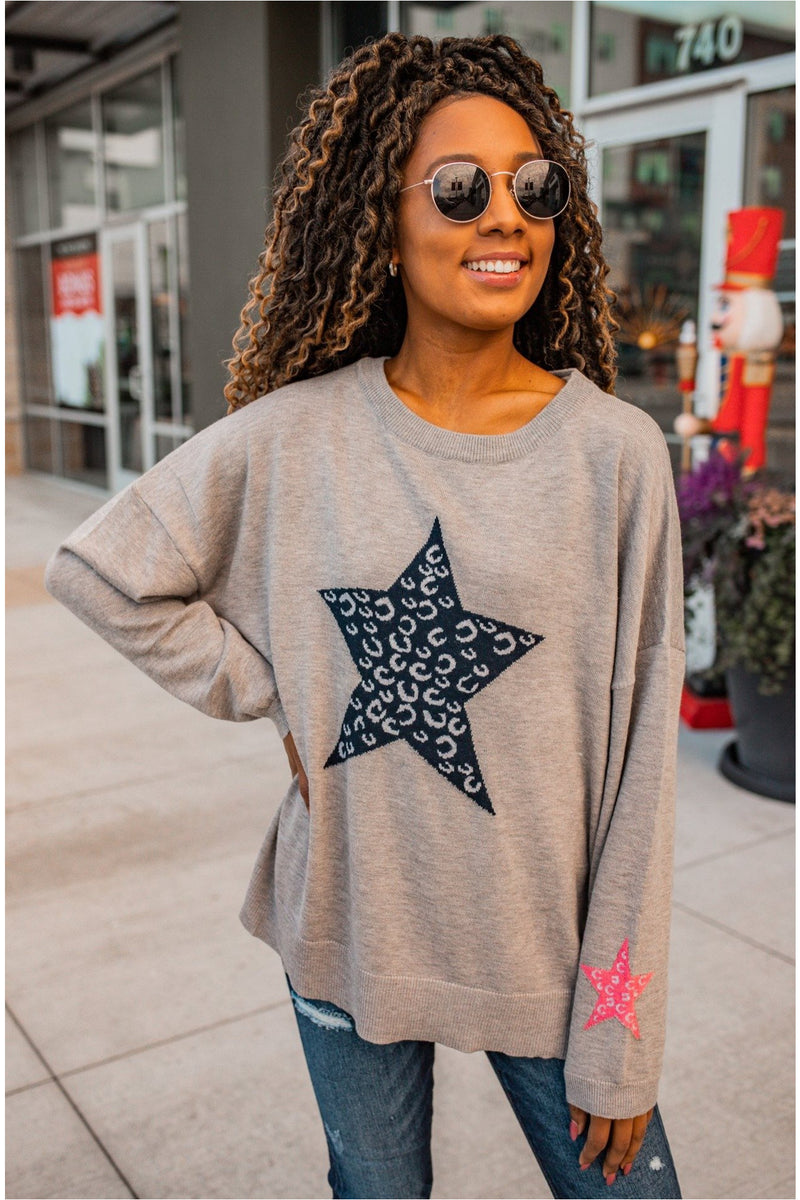 Heather Grey Star Print Knit Sweater - BluePeppermint Boutique