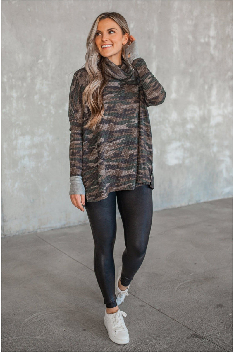 Olive Camo Waffle Knit Cowl Neck Top - BluePeppermint Boutique