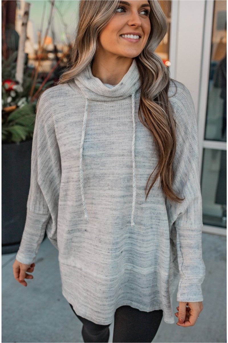 Heather Grey Drawstring Oversized Top - BluePeppermint Boutique