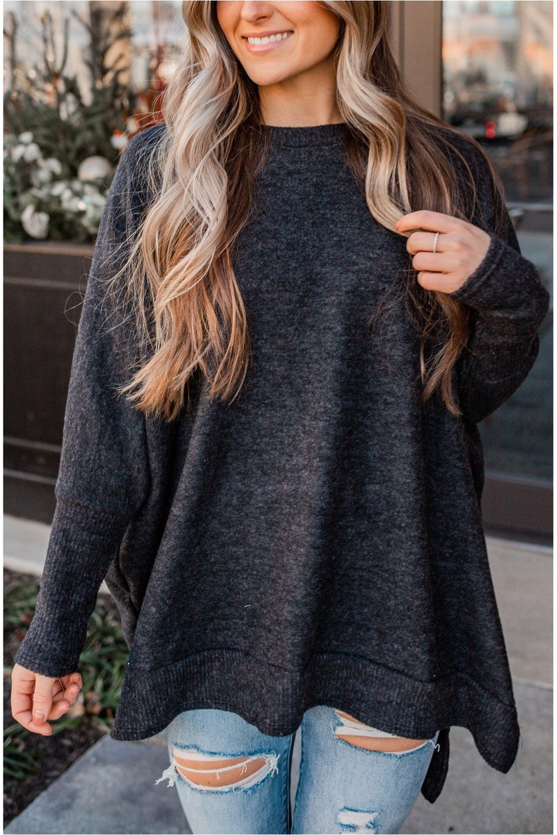 Plush Oversized Dolman Sleeve Top - Charcoal - BluePeppermint Boutique
