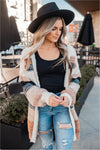 Natural Striped Fuzzy Cardigan - BluePeppermint Boutique