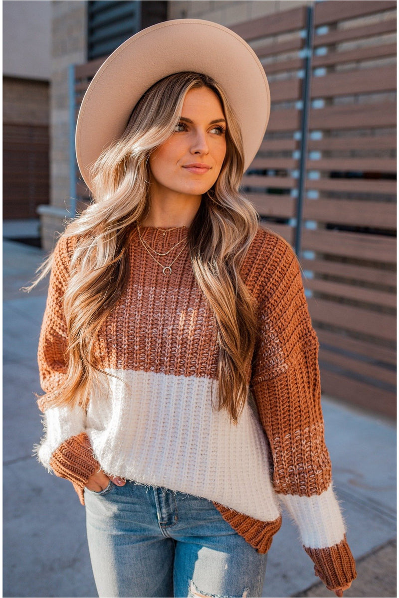 Light Cinnamon Striped Fuzzy Sweater - BluePeppermint Boutique