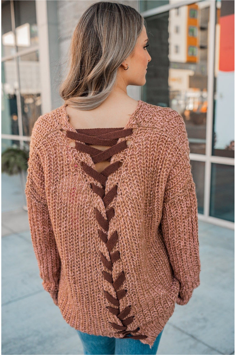 Two Toned Cable Knit Lace Up Tunic - BluePeppermint Boutique