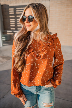 Rust Polka Dot Ruffle Detailed Blouse - BluePeppermint Boutique