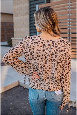 Button Up Floral Blouse- Sand - BluePeppermint Boutique