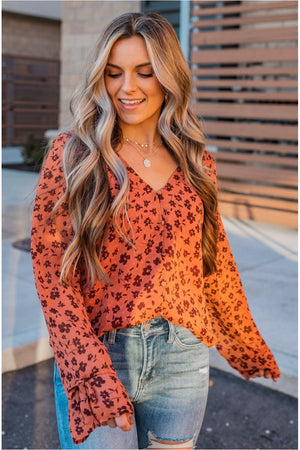 Button Up Floral Blouse- Rust - BluePeppermint Boutique