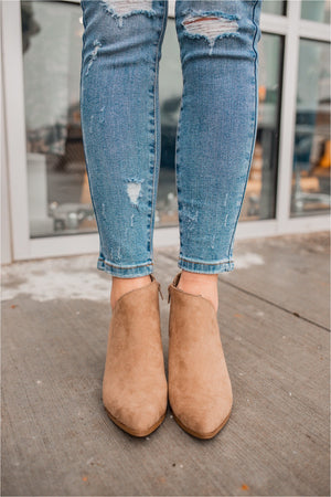 Taupe Suede Zip Up Bootie - BluePeppermint Boutique