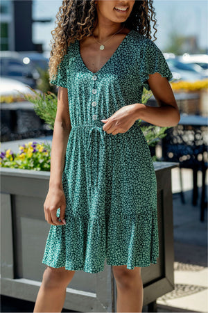 Ditsy Floral Button Down Dress - BluePeppermint Boutique