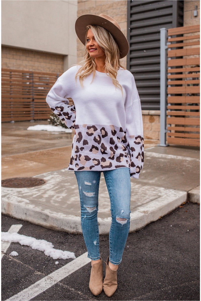 White/Grey Leopard Sweater - BluePeppermint Boutique