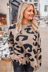 Mushroom Leopard Distressed Sweater - BluePeppermint Boutique